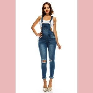Denim - Knee Slit Cuffed Denim Overall